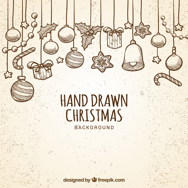 Hand Drawn Baubles Background