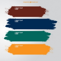 Brush Strokes Banners In Different Colors