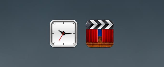 Clock and Movie iOS Icons