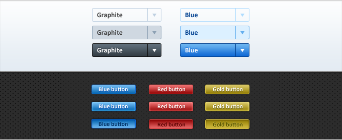 Dropdown and Standard Button Set with All States
