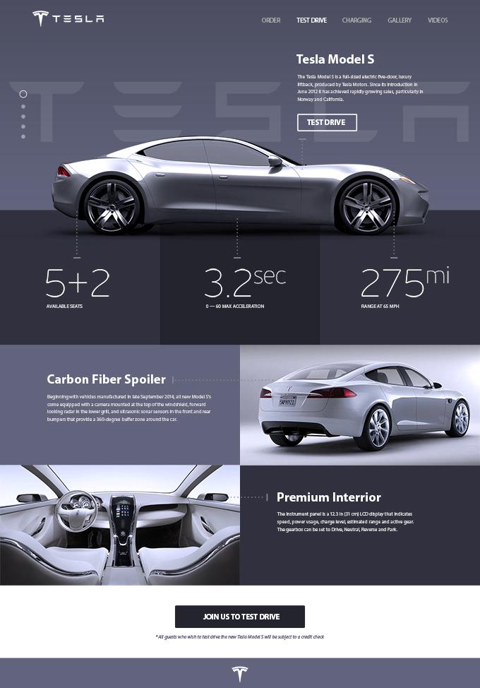 Tesla ?Model S? Promosite Concept (PSD Freebie)