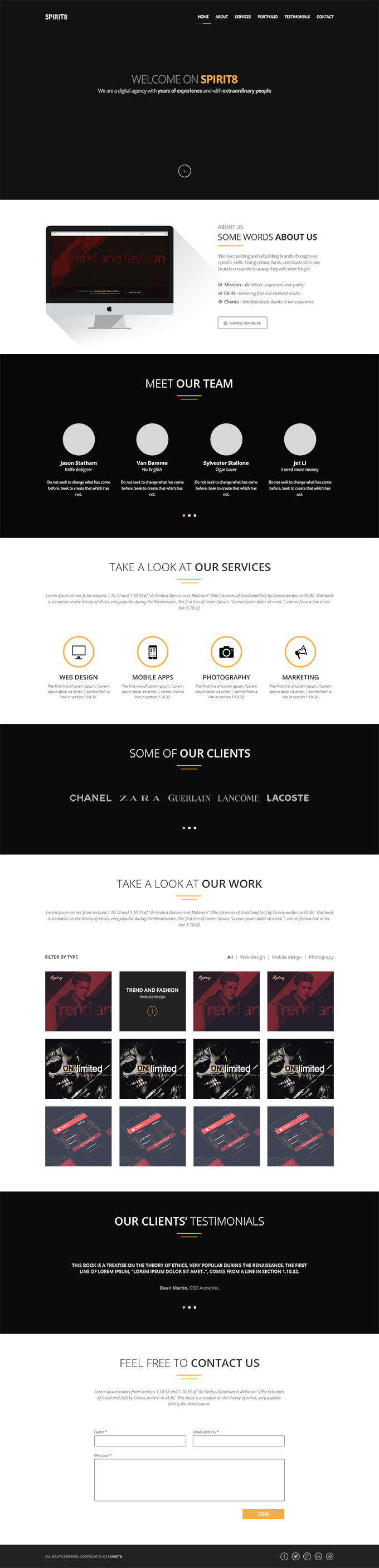 Spirit8 - Digital Agency One Page Template