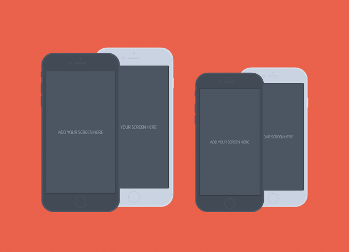 iPhone 6 & Plus Flat Mockup