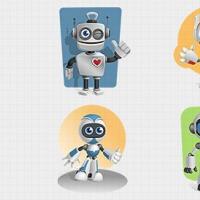 Robot Vector Character Set 1v