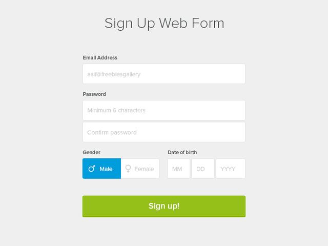 Sign Up Web Form