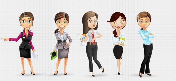 Businesswoman Vector Character Set 2