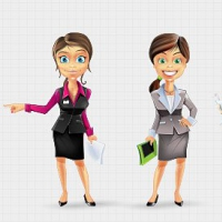 Businesswoman Vector Character Set 2