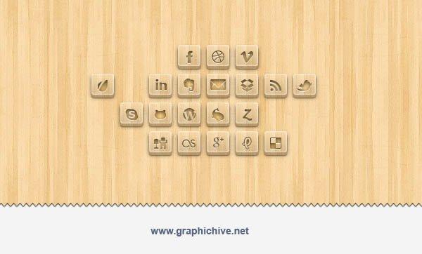 Wood Engraved Social Media Icons (Psd)