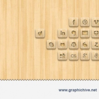 Wood Engraved Social Media Icons (Psd)
