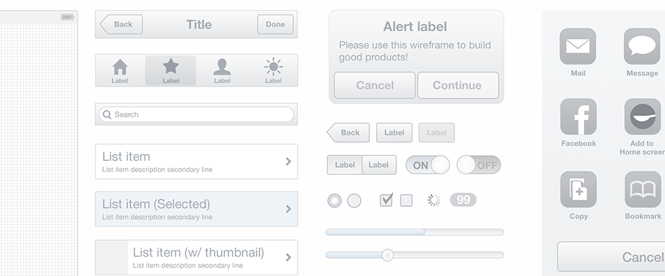 Spoon A mobile wireframe UI kit