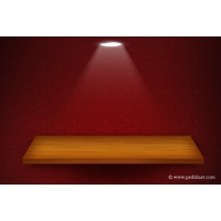 3d Isolated Empty Shelf for Exhibit on Red Wallpaper Background