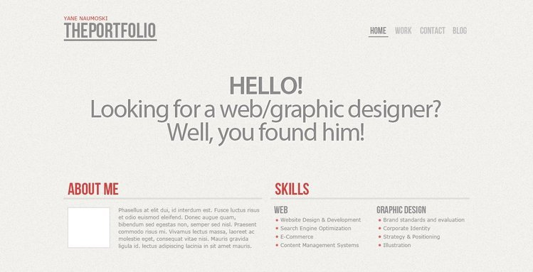 The Portfolio Free PSD Template