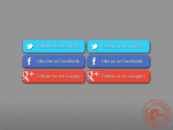 3D Social Buttons