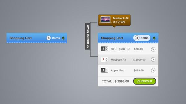Shopping Cart Elements PSD
