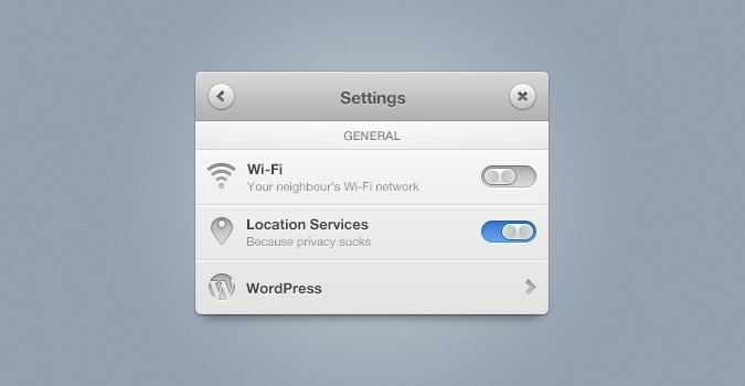 Settings Panel (PSD)