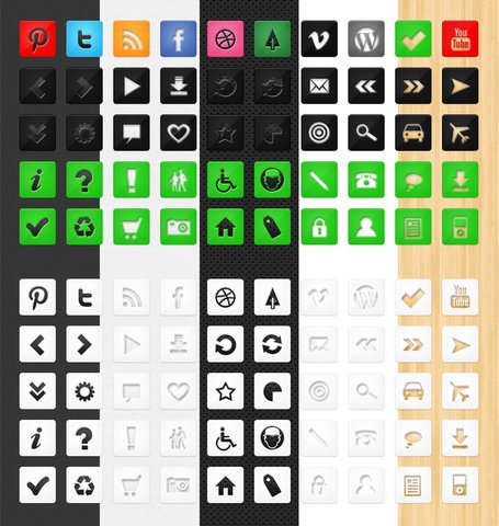 50 Die Cut Icon Set