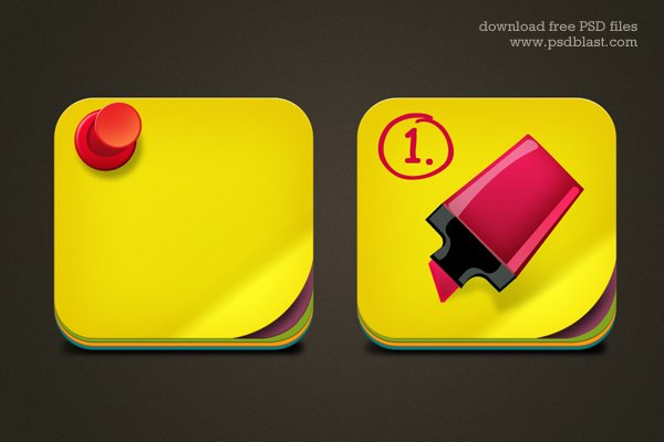 ree Download Sticky Note Icon PSD for Mac