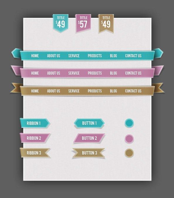 Free Web UI Set Navigations, Buttons, Circles and Ribbons