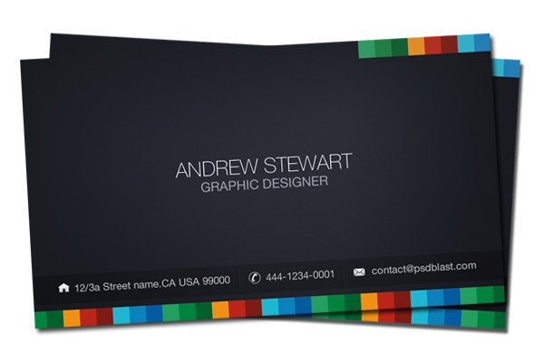 Business Card Template, Dark Theme