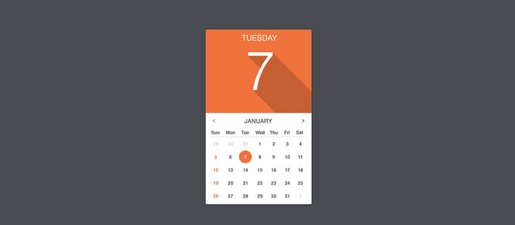 Flat Long Shadow Weekly UI Calendar