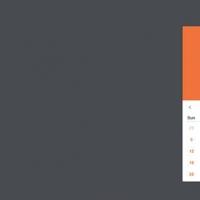 Flat Long Shadow Weekly UI Calendar