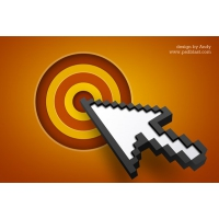 Arrow Cursor Icon With Target (PSD)