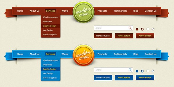 Modern Menu For Web Elements