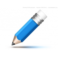 Blue Pencil Icon (PSD)