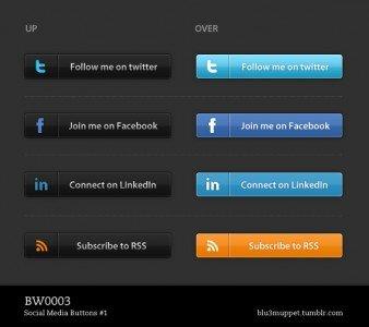Social Media Buttons #1 Dark Theme