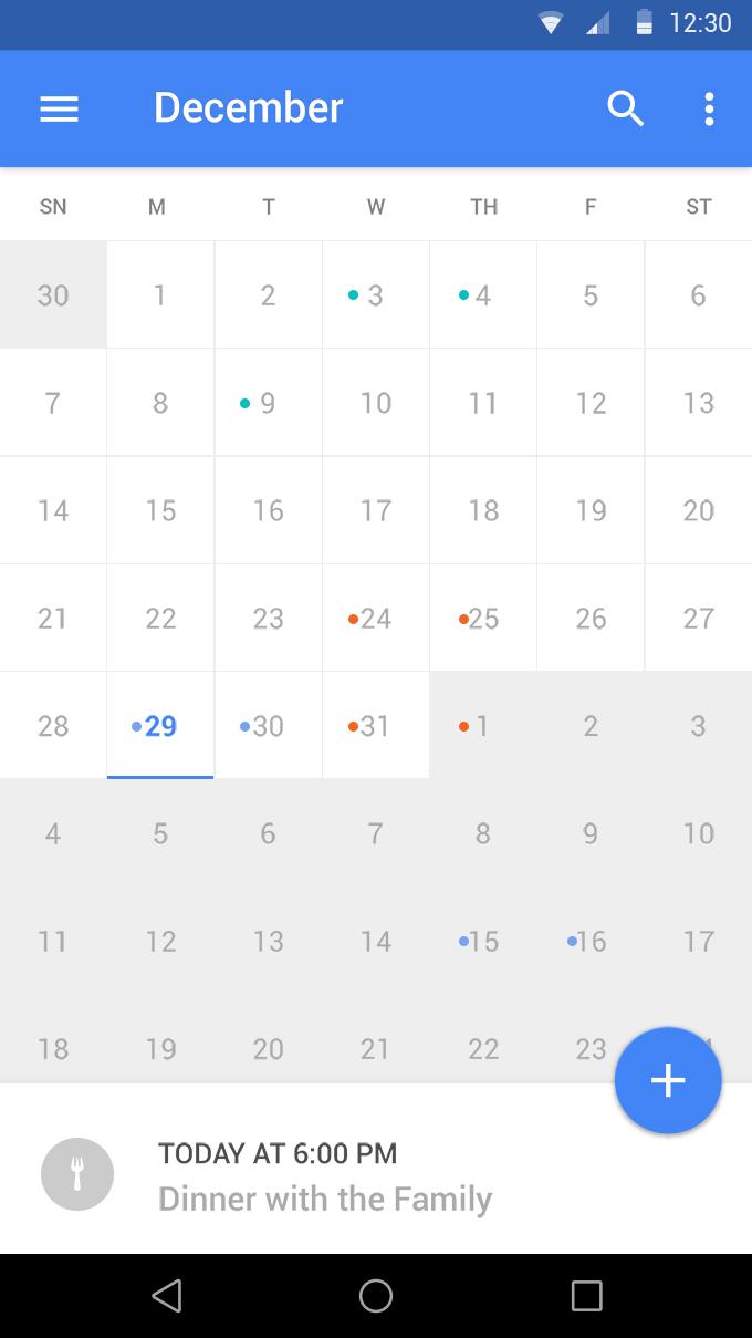 [Free PSD] Material Calendar UI