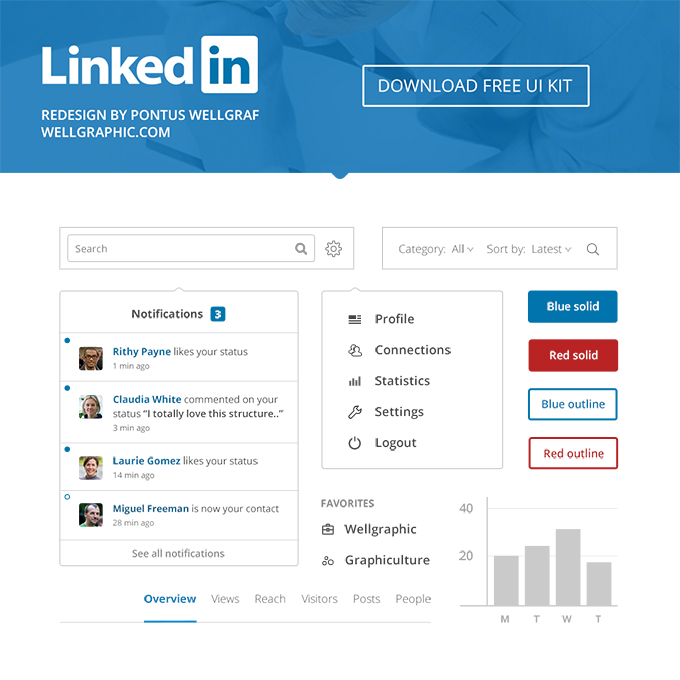 Linkedin Redesign - FREE UI KIT DOWNLOAD