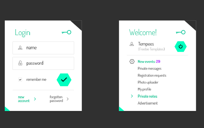 Freebie: Login And User Profile Boxes