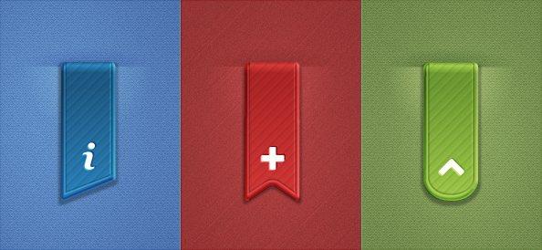 3 Free PSD Ribbons Set