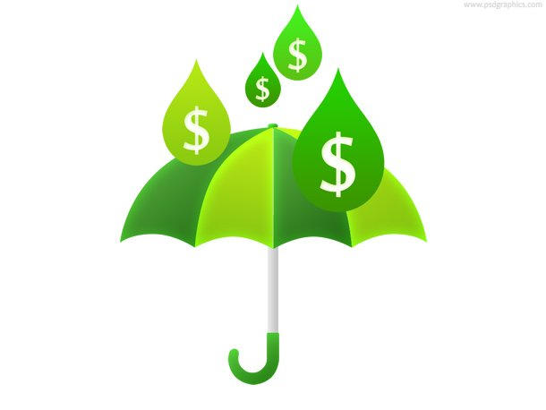 Money Rain And Umbrella (PSD)