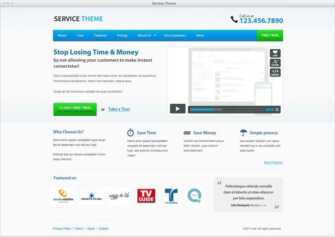 Service Theme Free PSD Template