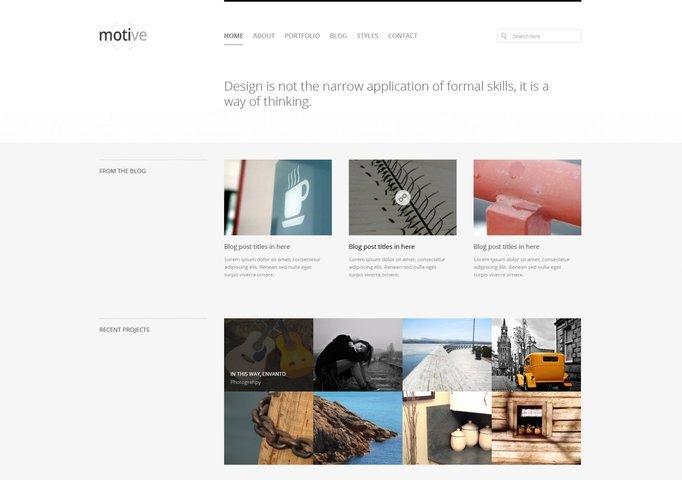 Motive Minimal Homepage Layout Free PSD Template