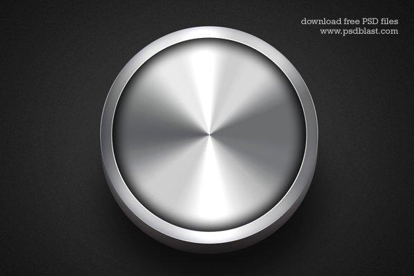 Shiny Metal Button Template PSD