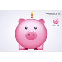 Glossy Piggy Bank Icon (PSD)