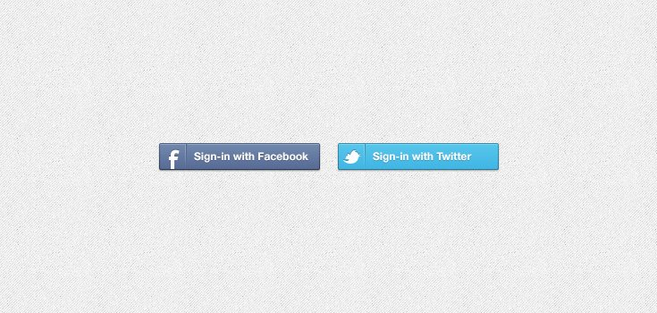 Facebook & Twitter Sign-in Buttons (PSD)