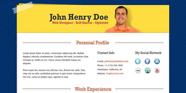 Professional Resume / CV template (PSD)
