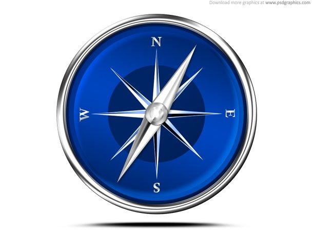 Modern Compass Icon (PSD)