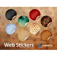 Round Retro Stickers, PSD Template