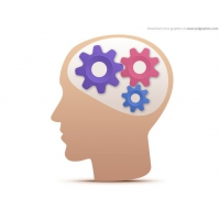 Creative Thought, Head With Gears Icon (PSD)