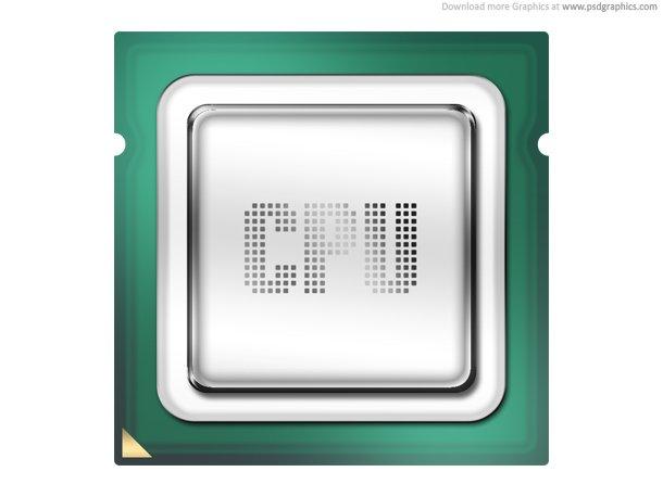 Computer Processor, CPU Icon (PSD)