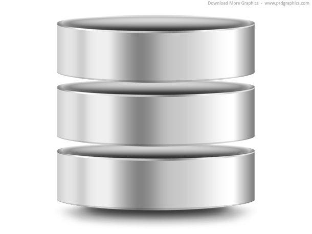 Silver Computer Database Icon (PSD)