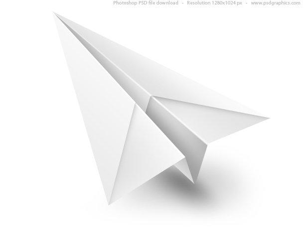 White Paper Airplane PSD Icon