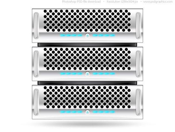 Silver Rack Server, PSD Web Icon