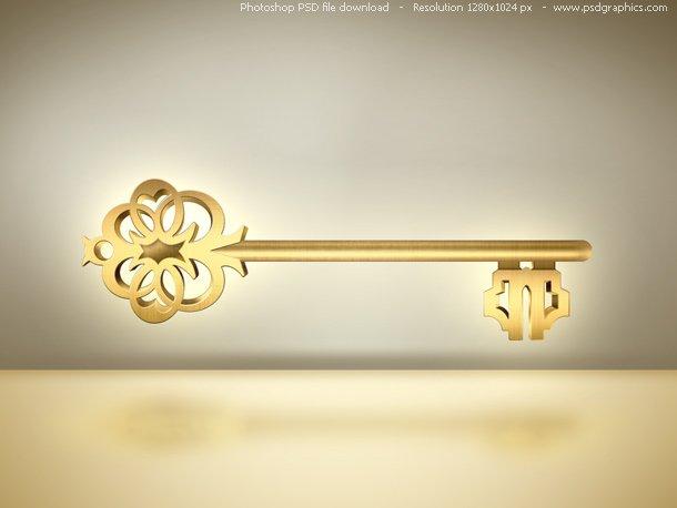 PSD Old Golden Skeleton Key