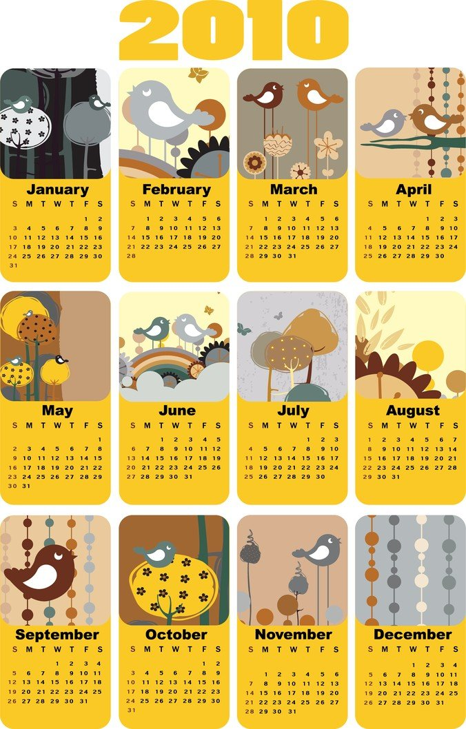 Cute Bird Theme  Calendar Template