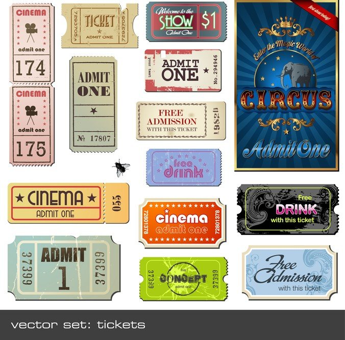 Vector Foreign Nostalgic Movie Ticket
